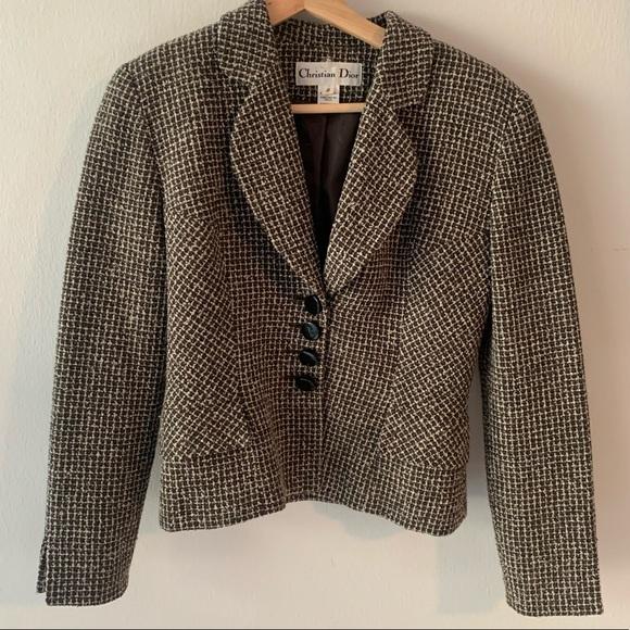 Christian Dior Vintage Tweed Plaid Trendy Jacket